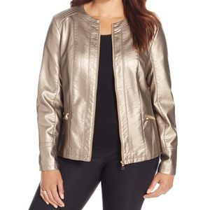 NWT Charter Club Gold Leather Jacket | L